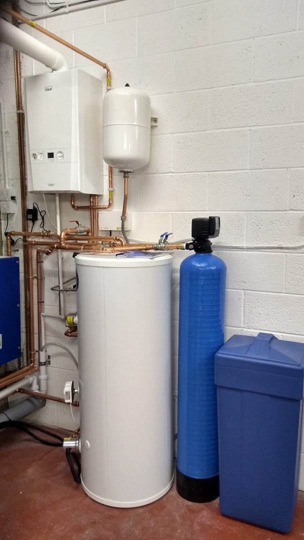 Commercial laundry water softener and boiler