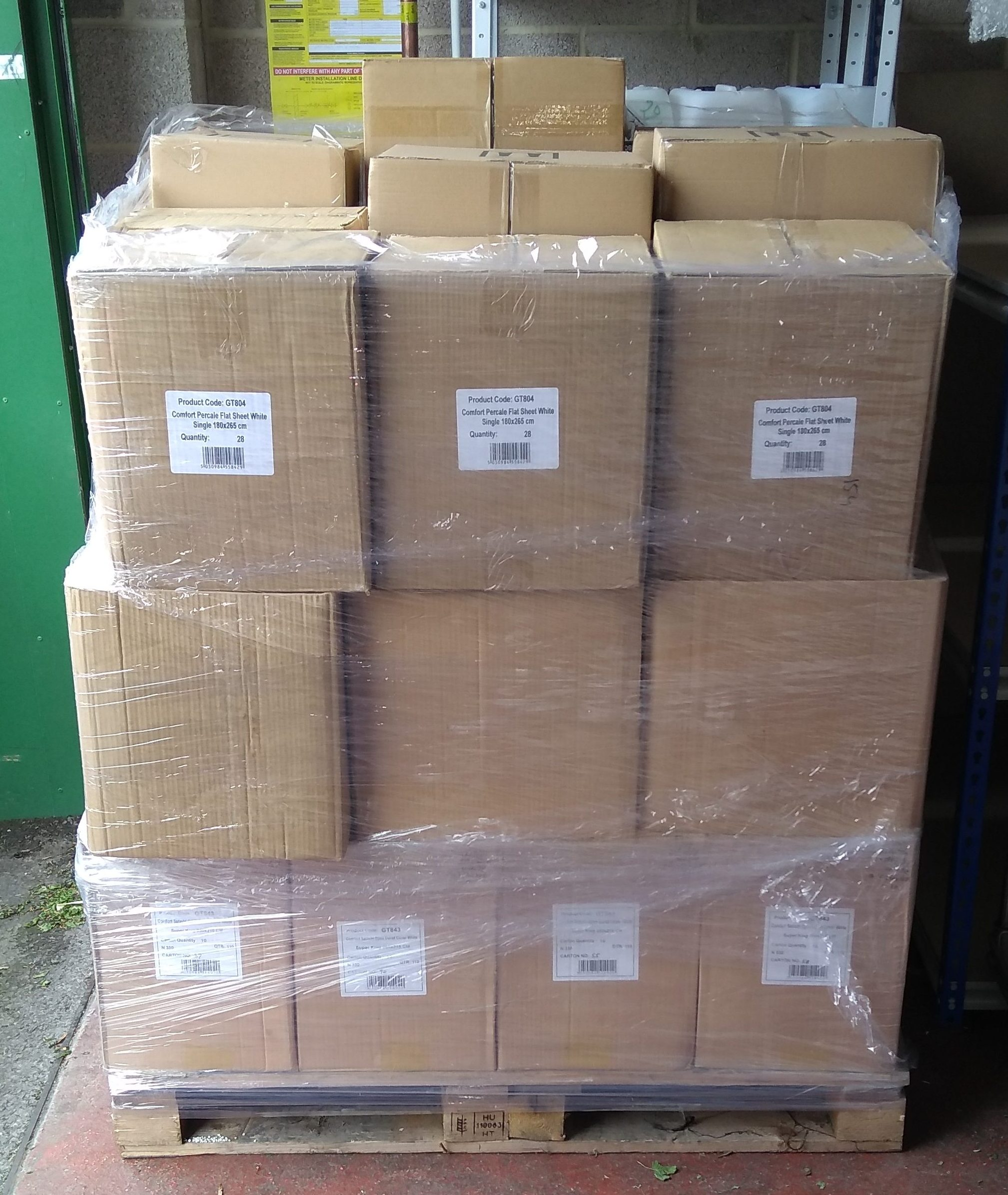 pallet of linen in boxs