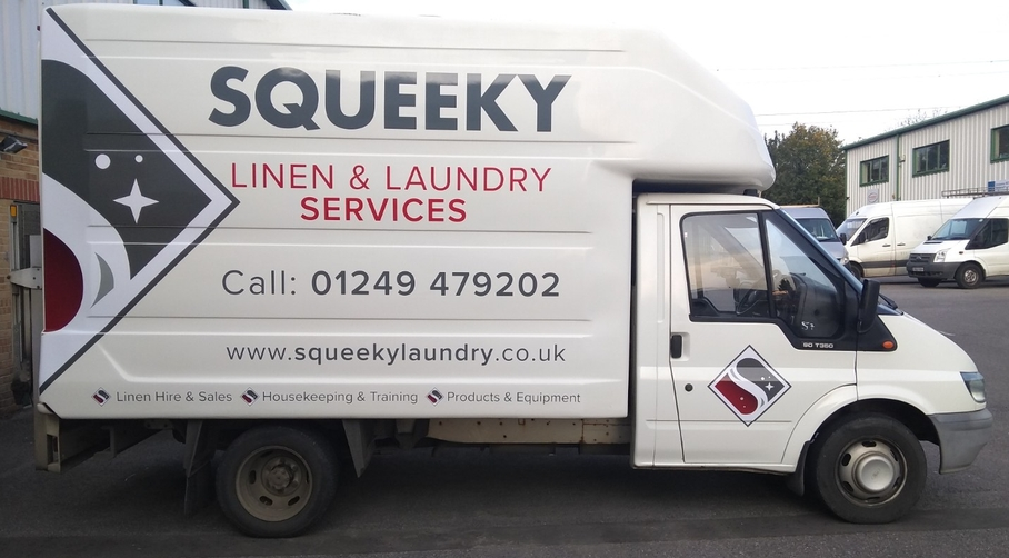 Squeeky laundry Delivery Van